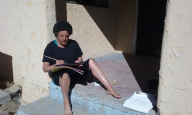 sketching on casita porch