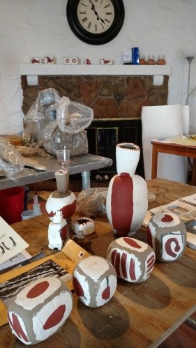 artist's worktable in studio